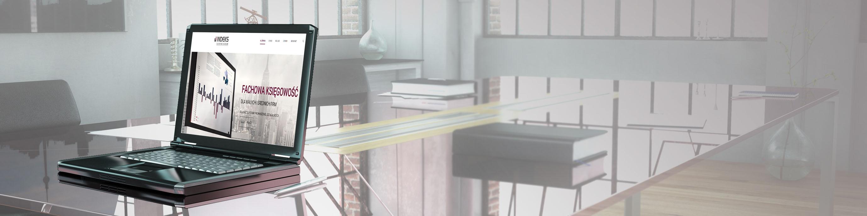 Panorama vom Büro mit Glastisch als Schreibtisch und einem Computer